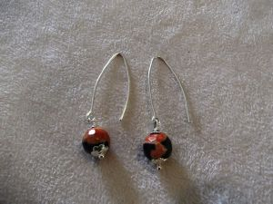Boucles agate noir orange NEW